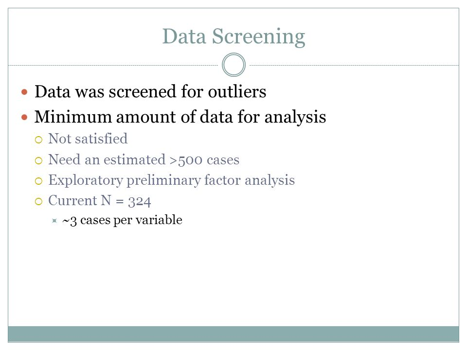 Data Screening Data was screened for outliers