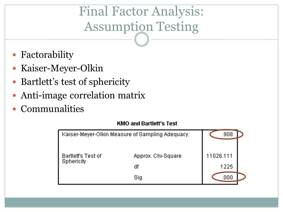 Final Factor Analysis: Assumption Testing