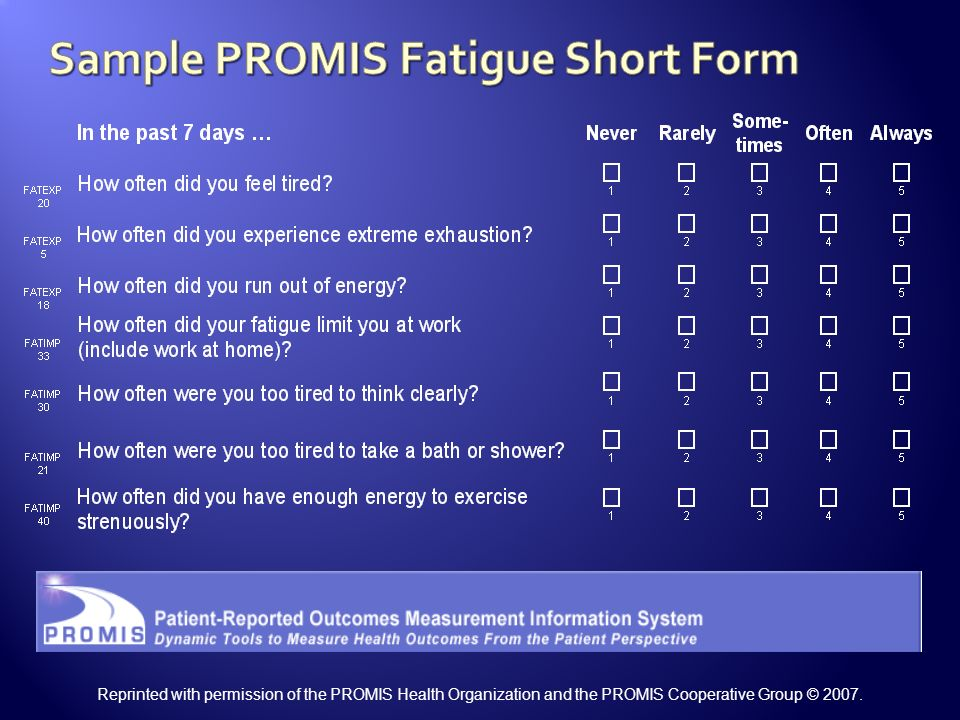 Sample PROMIS Fatigue Short Form