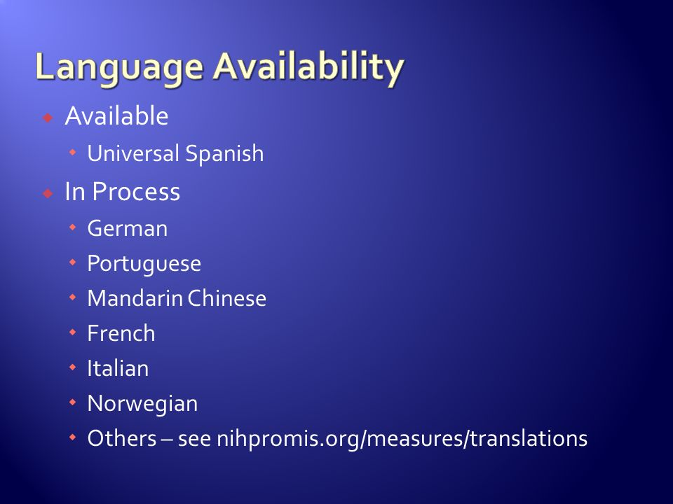 Language Availability