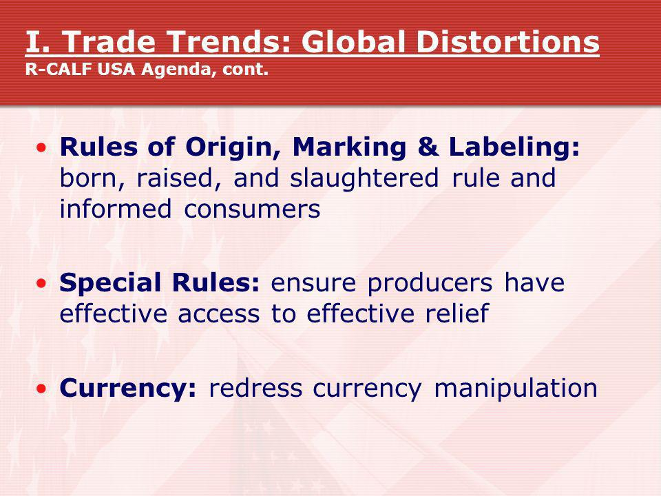 I. Trade Trends: Global Distortions R-CALF USA Agenda, cont.