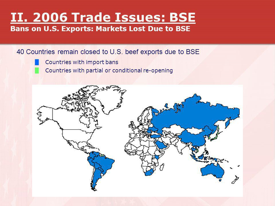 II. 2006 Trade Issues: BSE Bans on U. S