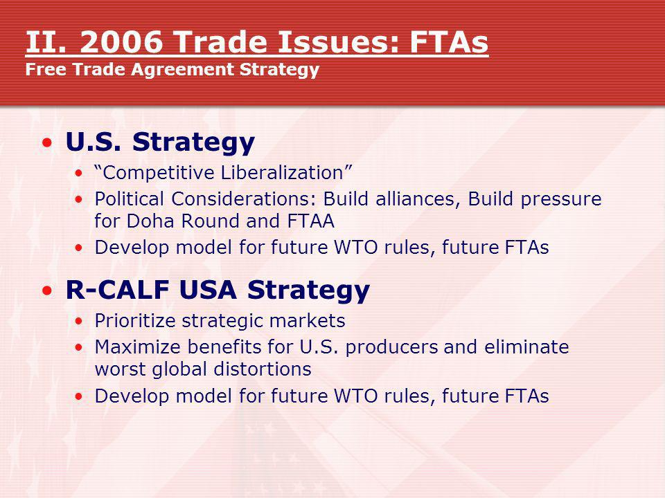 II. 2006 Trade Issues: FTAs Free Trade Agreement Strategy