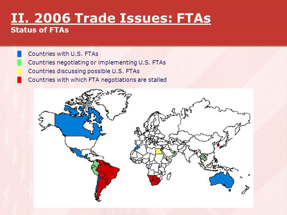 II. 2006 Trade Issues: FTAs Status of FTAs