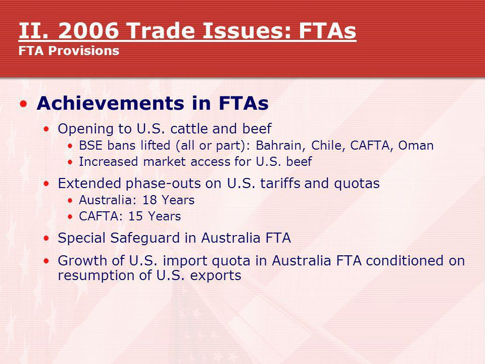 II. 2006 Trade Issues: FTAs FTA Provisions