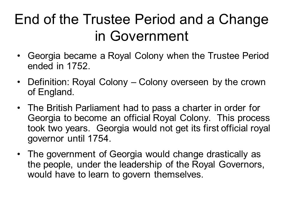 End of the Trustee Period and a Change in Government