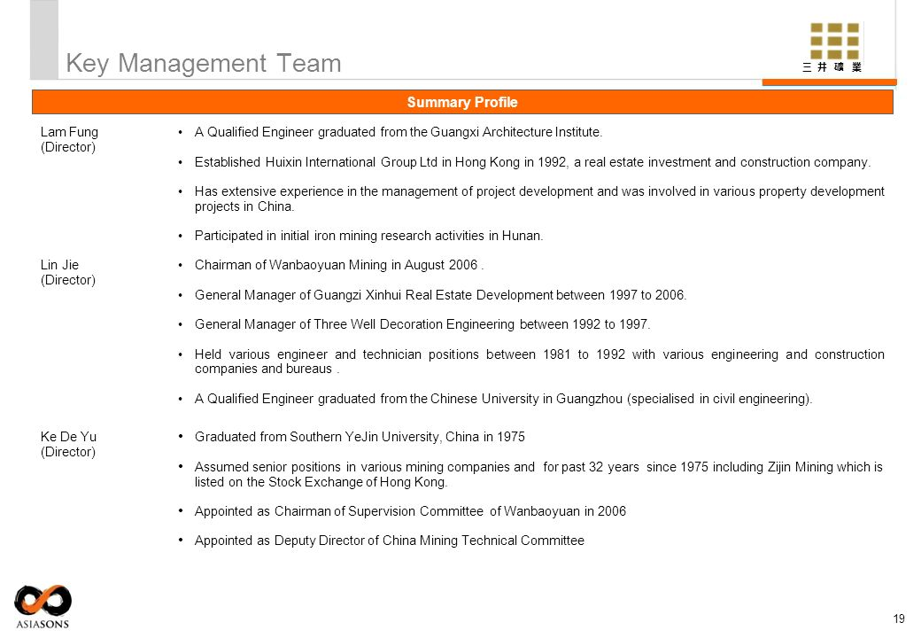 Key Management Team Summary Profile Lam Fung (Director)