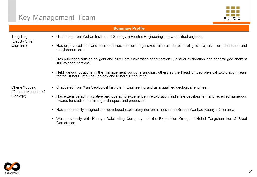 Key Management Team Summary Profile Tong Ting (Deputy Chief Engineer)