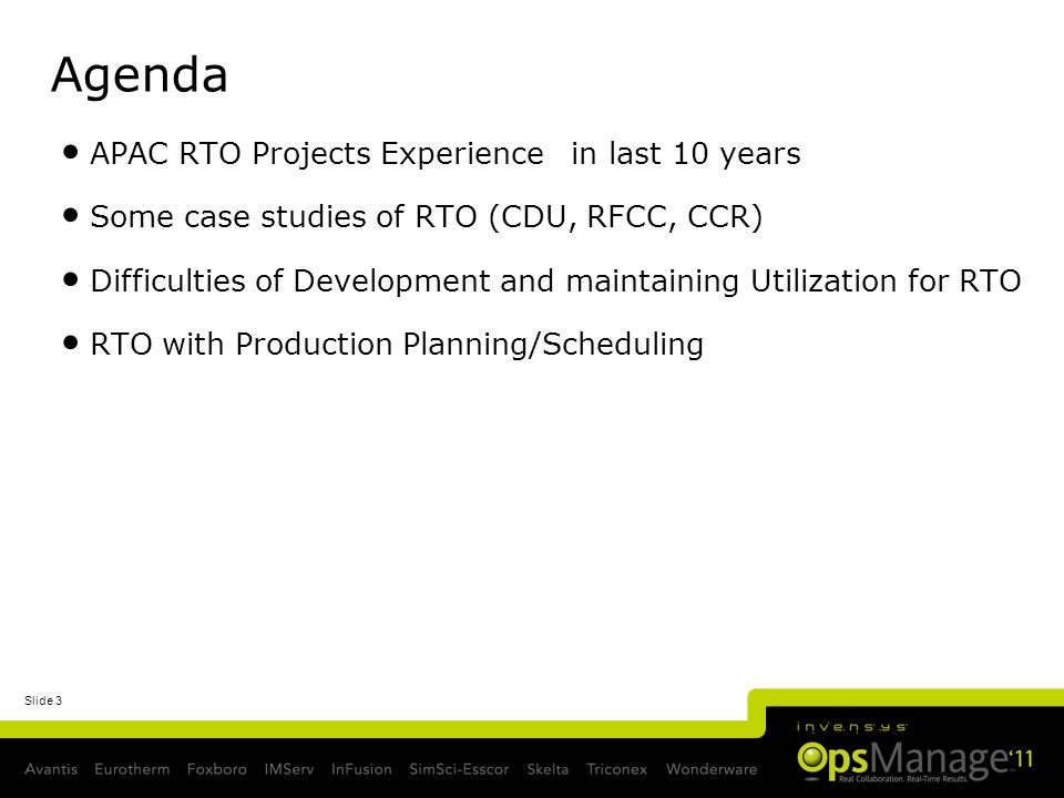 Agenda APAC RTO Projects Experience in last 10 years