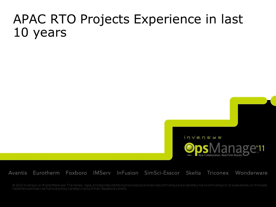 APAC RTO Projects Experience in last 10 years