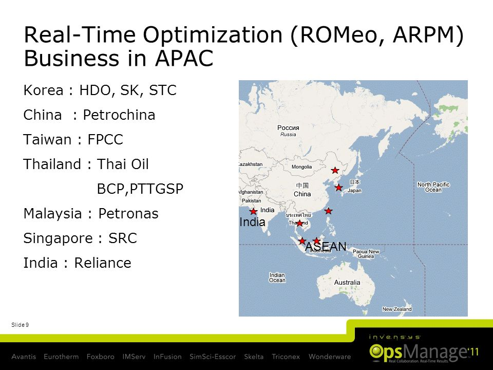 Real-Time Optimization (ROMeo, ARPM) Business in APAC