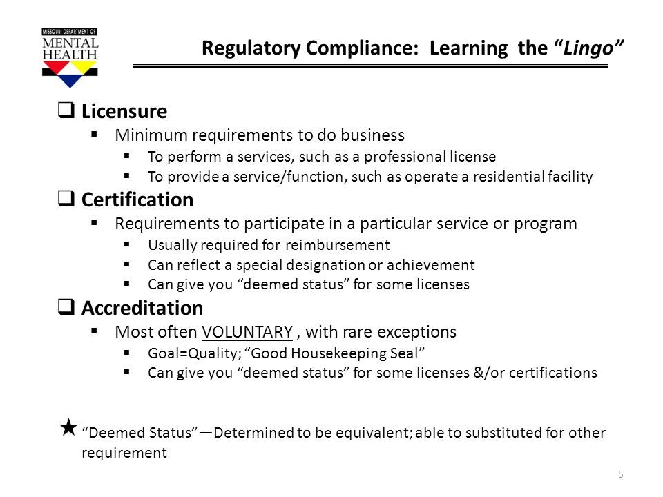 Regulatory Compliance: Learning the Lingo