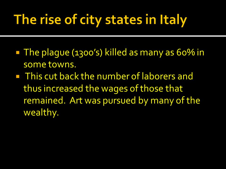 The rise of city states in Italy