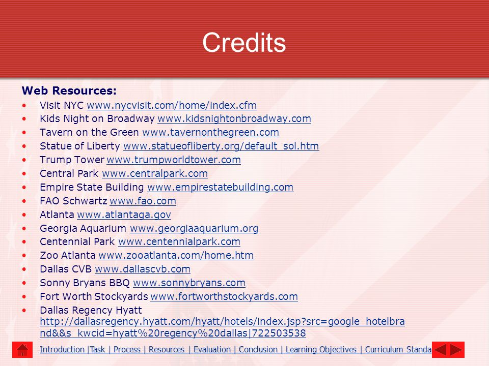 Credits Web Resources: Visit NYC