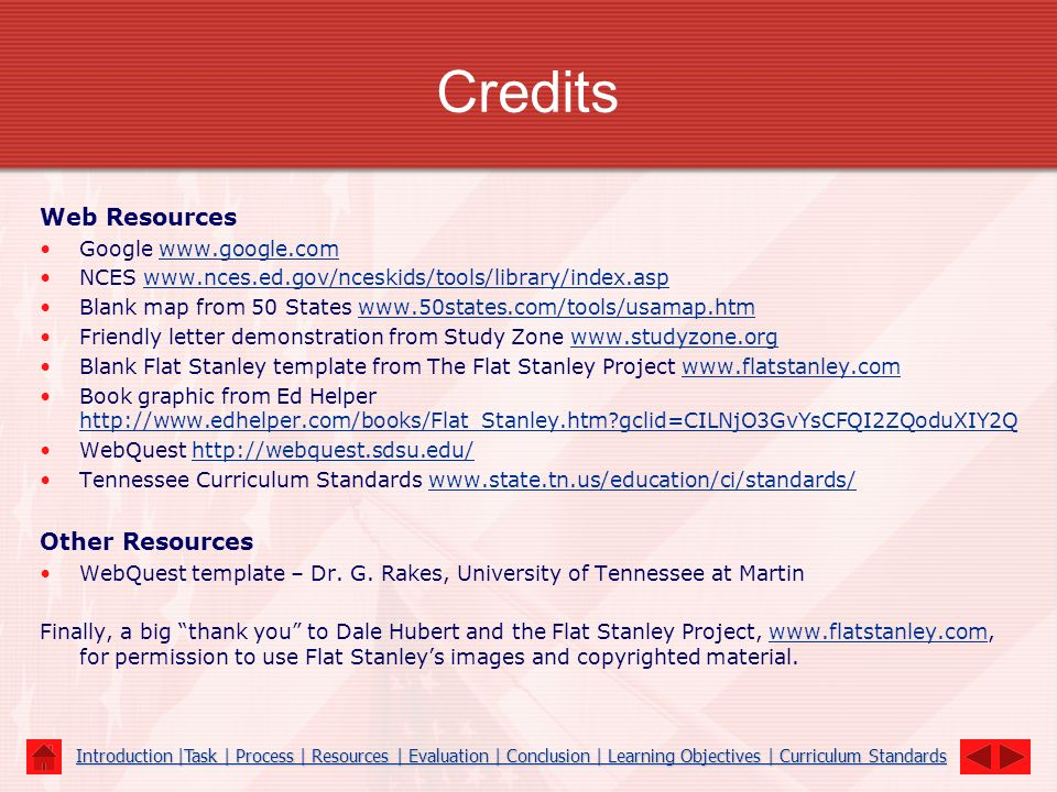 Credits Web Resources Other Resources Google