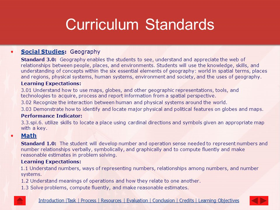 Curriculum Standards Social Studies: Geography
