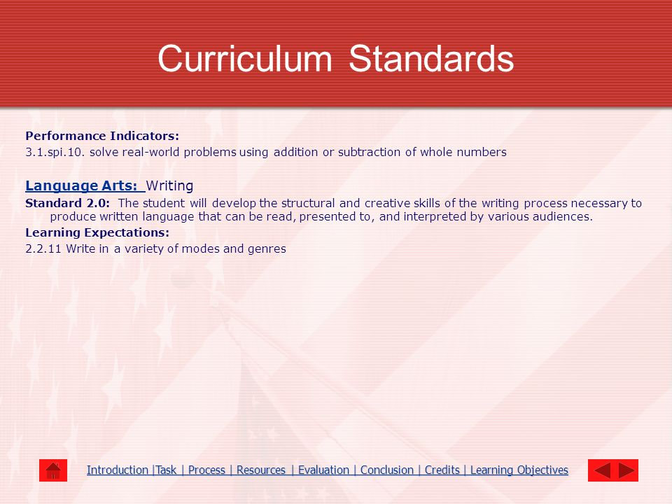 Curriculum Standards Language Arts: Writing Performance Indicators: