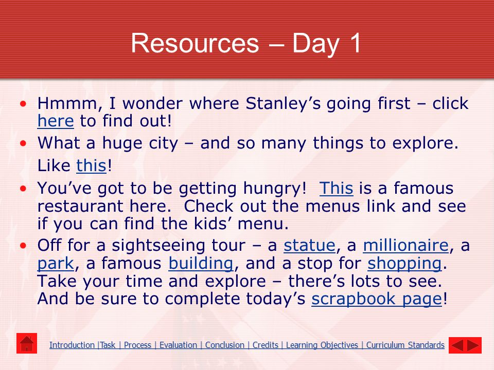 Resources – Day 1 Hmmm, I wonder where Stanley's going first – click here to find out! What a huge city – and so many things to explore. Like this!