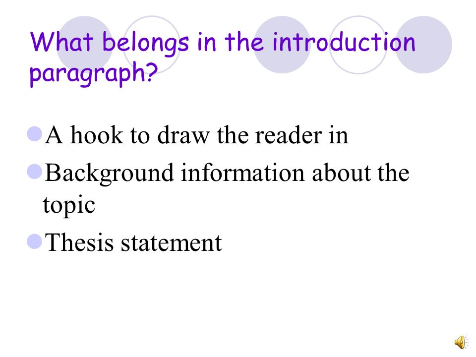 What belongs in the introduction paragraph