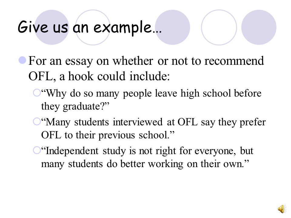 Give us an example… For an essay on whether or not to recommend OFL, a hook could include: