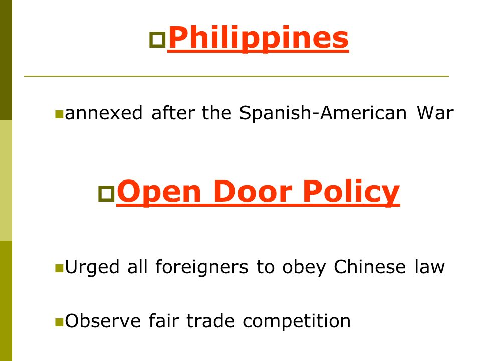 Philippines Open Door Policy
