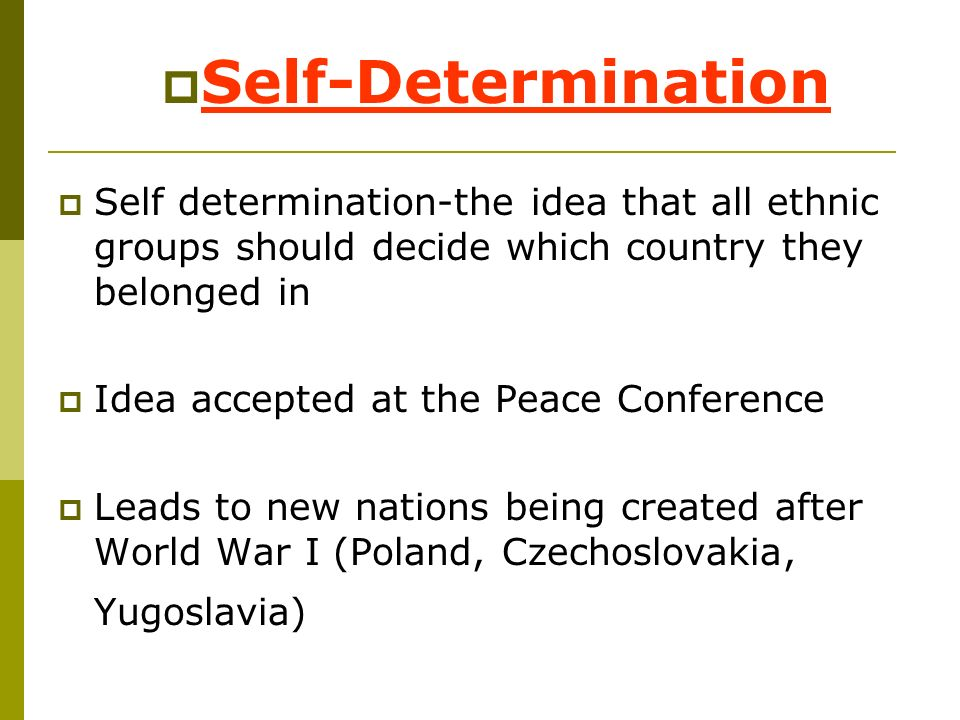 Self-Determination Self determination-the idea that all ethnic groups should decide which country they belonged in.