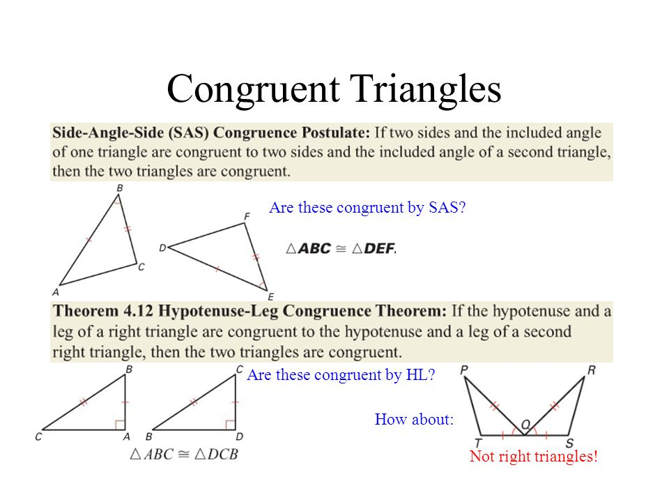 Congruent Triangles Are these congruent by SAS