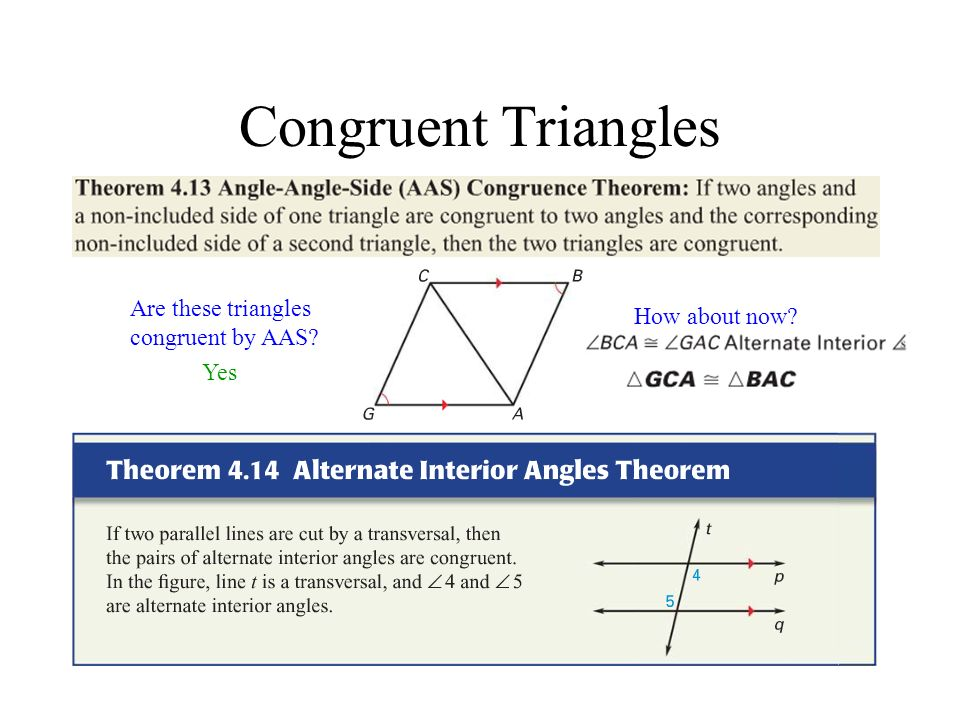 Congruent Triangles Are these triangles congruent by AAS