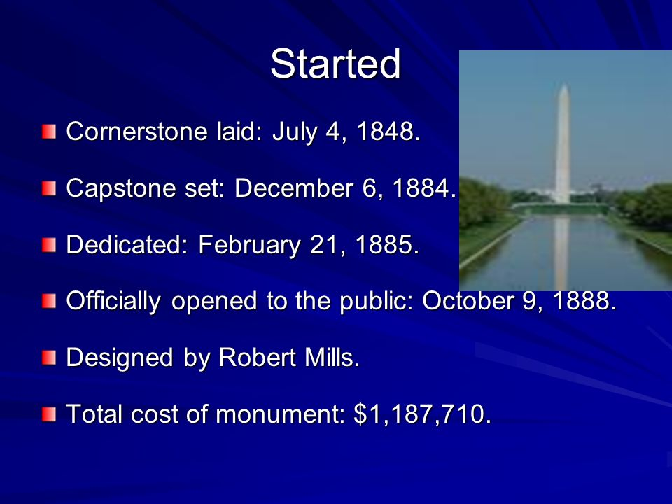 Started Cornerstone laid: July 4, 1848.