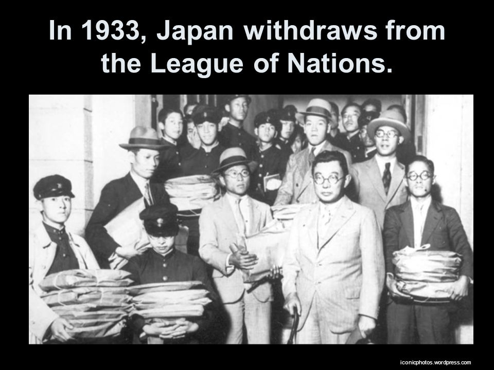 In 1933, Japan withdraws from the League of Nations.
