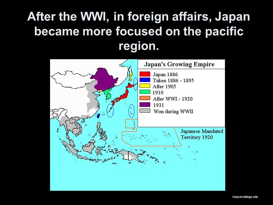 After the WWI, in foreign affairs, Japan became more focused on the pacific region.