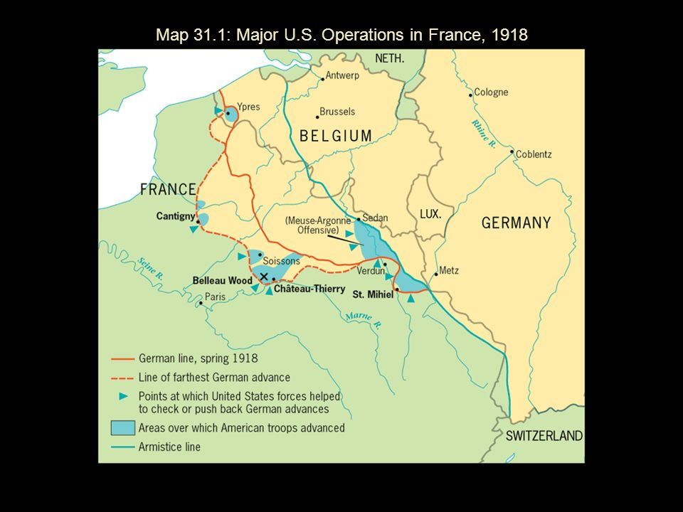 Map 31.1: Major U.S. Operations in France, 1918