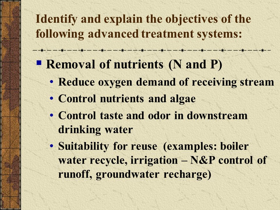 Removal of nutrients (N and P)