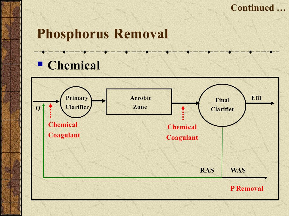 Phosphorus Removal Chemical Continued … Chemical Coagulant Chemical