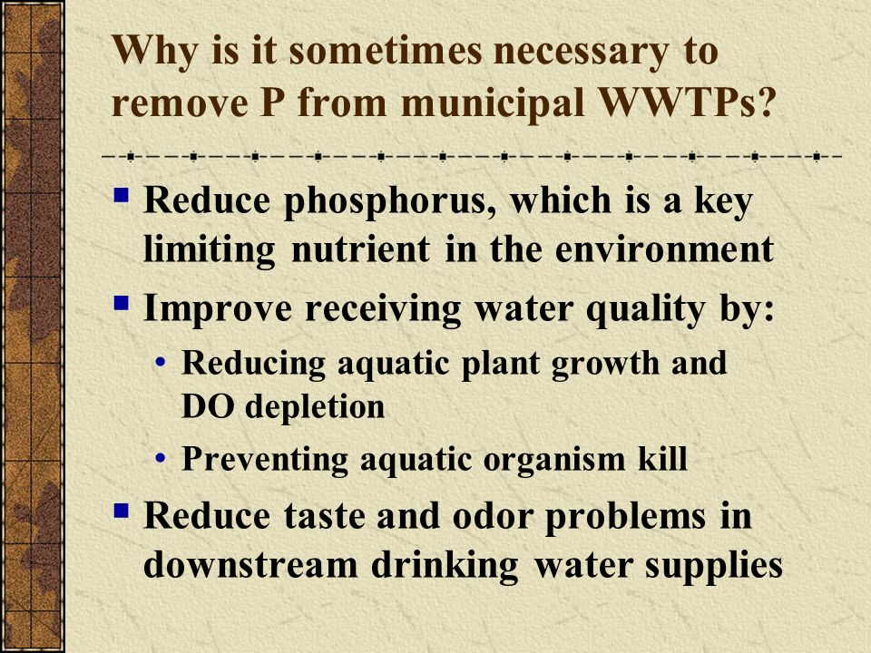 Why is it sometimes necessary to remove P from municipal WWTPs
