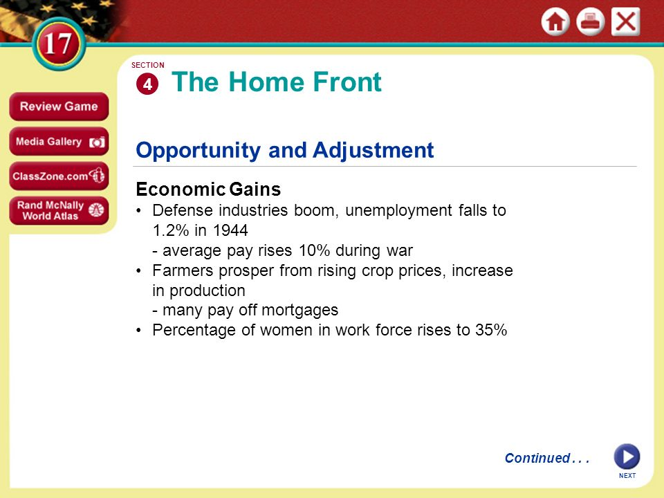 The Home Front Opportunity and Adjustment Economic Gains 4