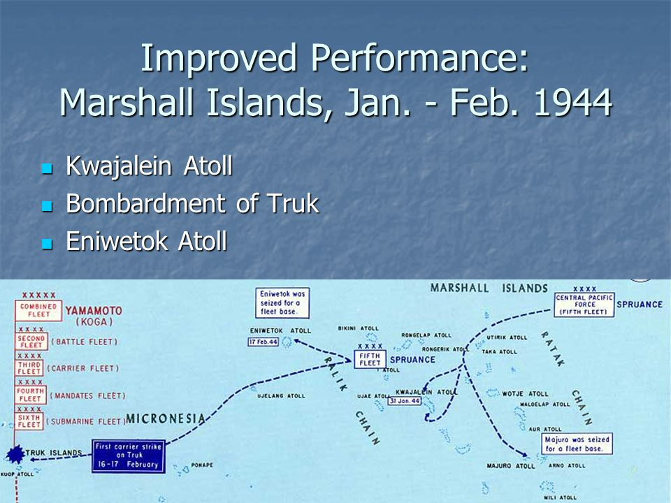 Improved Performance: Marshall Islands, Jan. - Feb. 1944