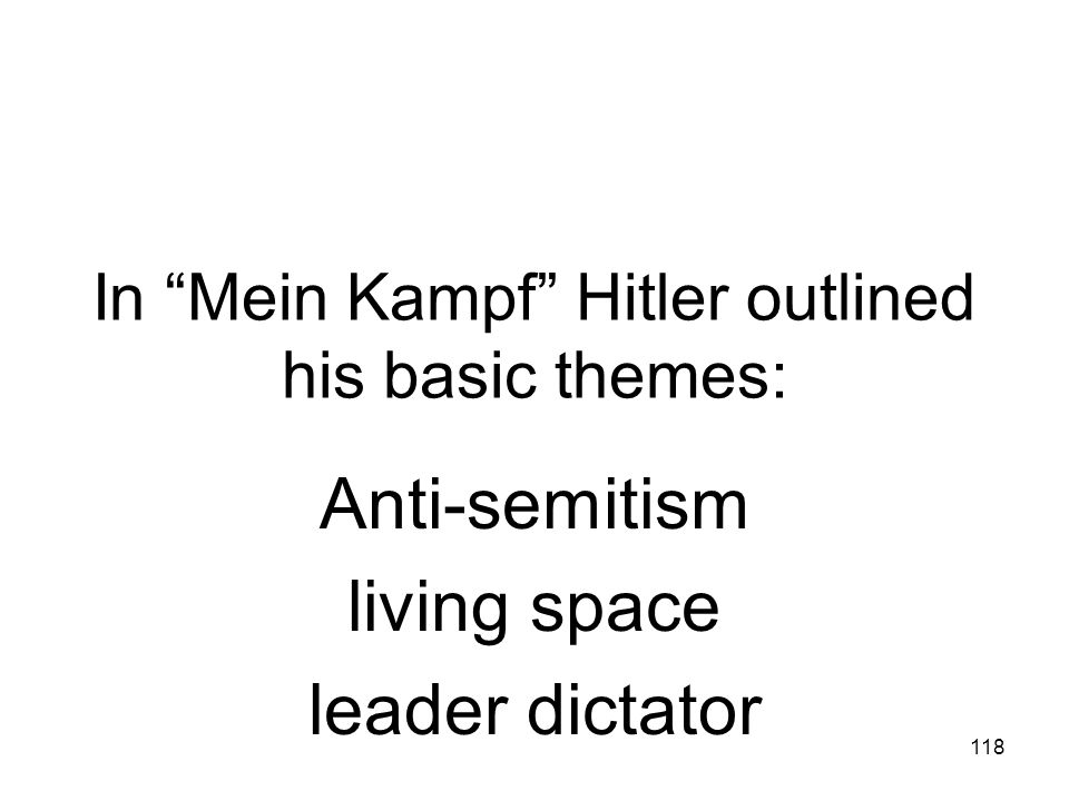 In Mein Kampf Hitler outlined his basic themes: