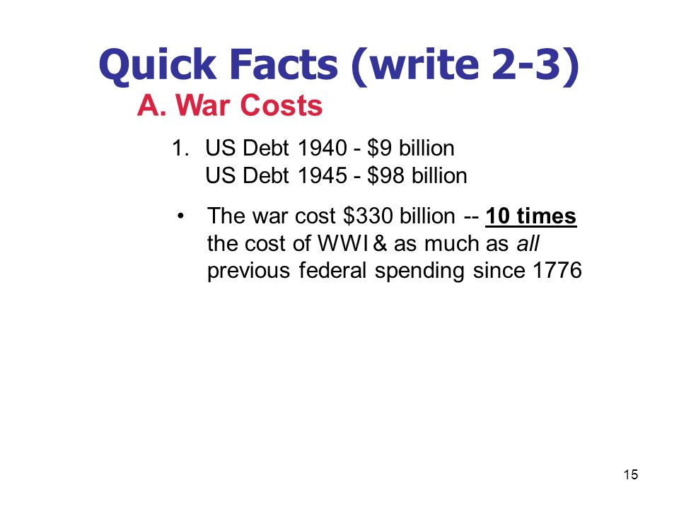 Quick Facts (write 2-3) A. War Costs