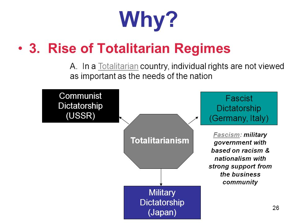 Why 3. Rise of Totalitarian Regimes