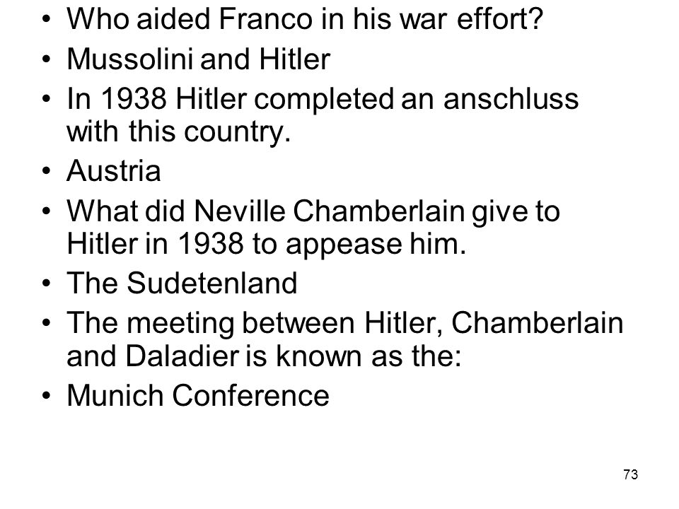 Who aided Franco in his war effort