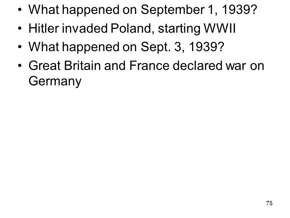 What happened on September 1, 1939