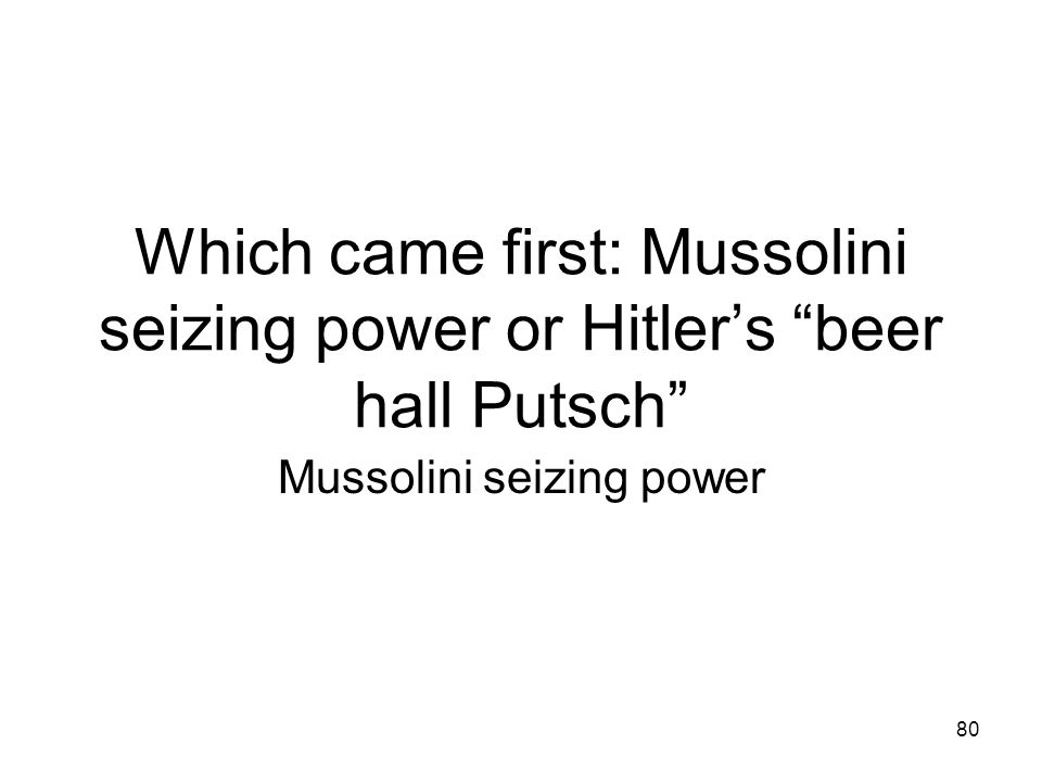 Mussolini seizing power