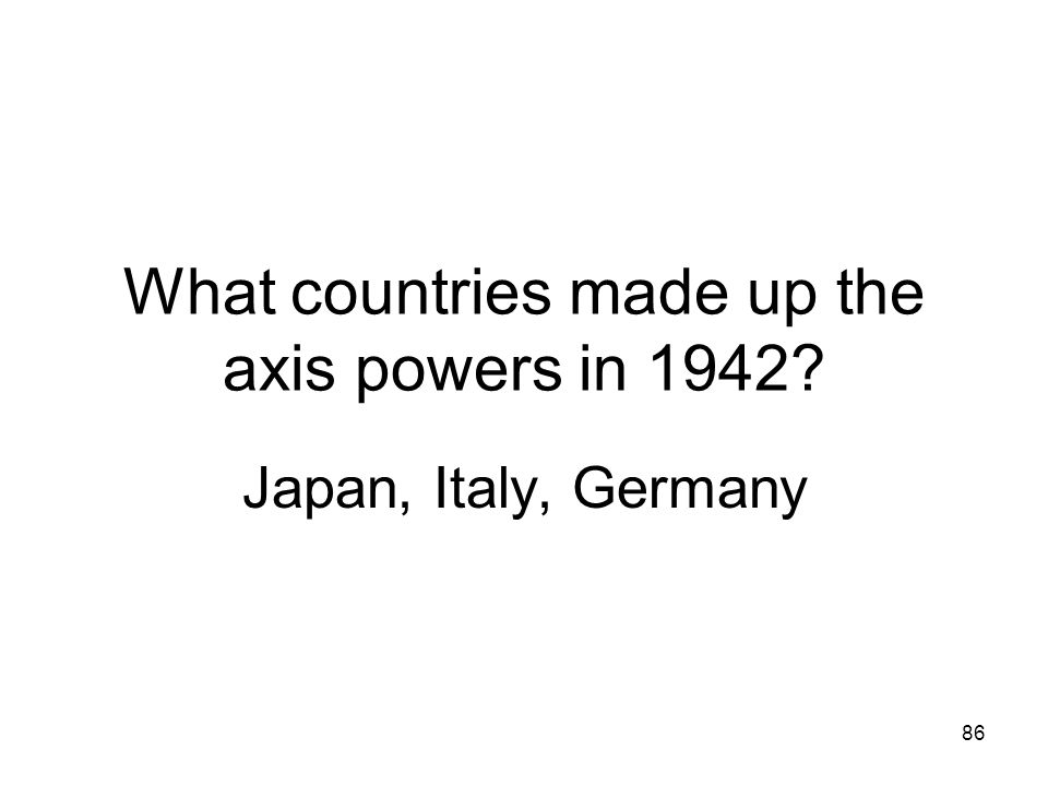 What countries made up the axis powers in 1942