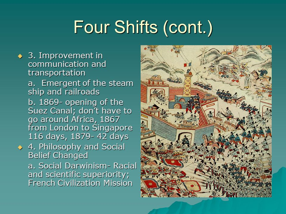 Four Shifts (cont.) 3. Improvement in communication and transportation