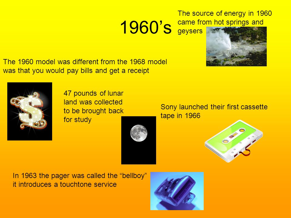 1960's The source of energy in 1960 came from hot springs and geysers