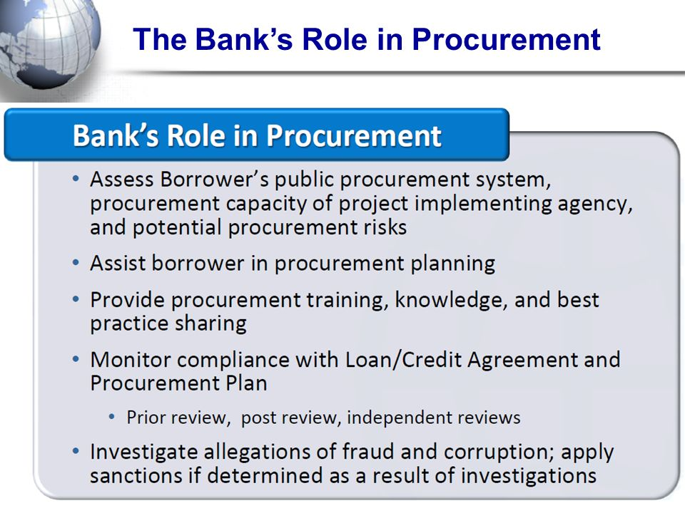 The Bank's Role in Procurement