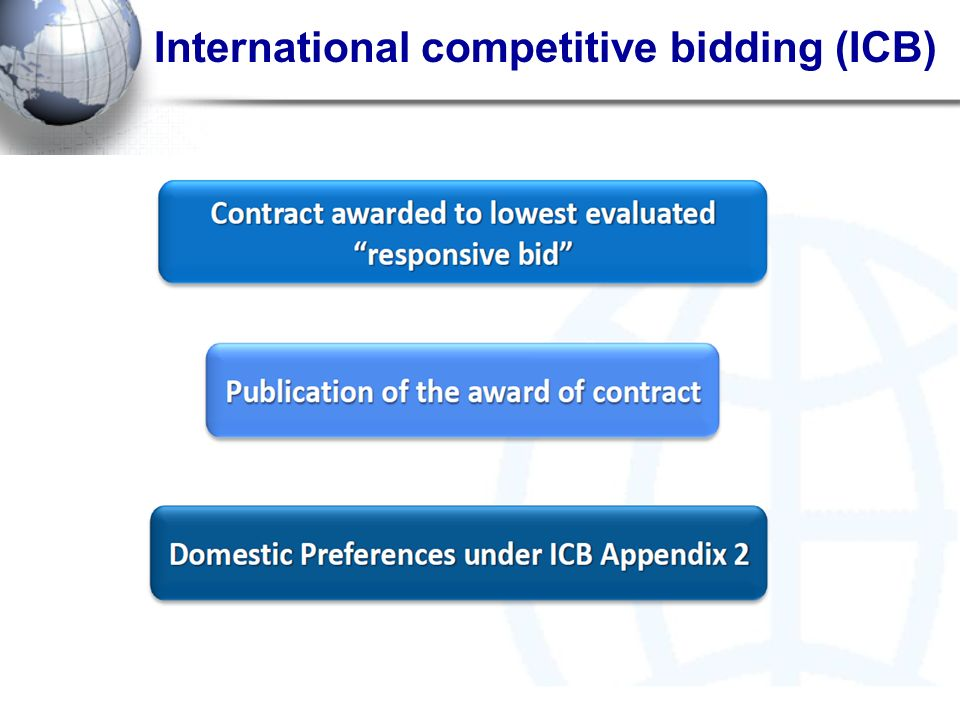 International competitive bidding (ICB)