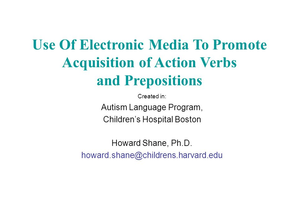 Use Of Electronic Media To Promote Acquisition of Action Verbs