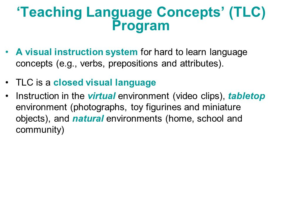 'Teaching Language Concepts' (TLC) Program